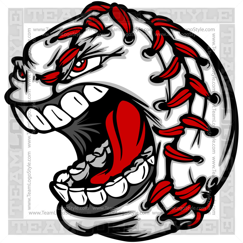 Baseball Graphic - Vector Clipart Screaming Baseball