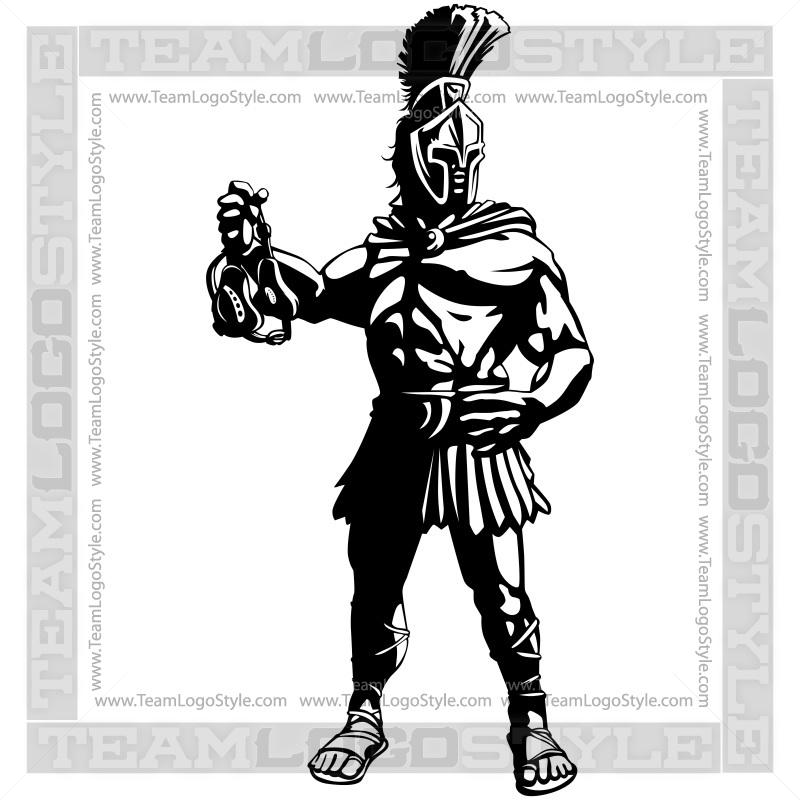 Spartan Wrestling Mascot Logo - Vector Clipart Spartan