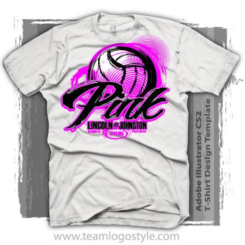 Volleyball Pink T-Shirt Design T-Shirt Design
