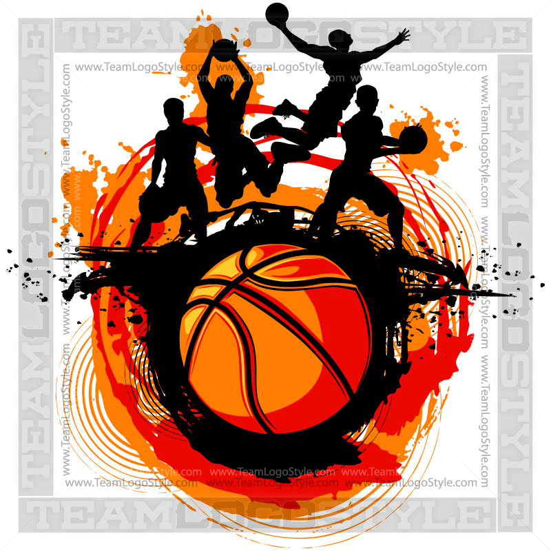 basketball design vector clipart players