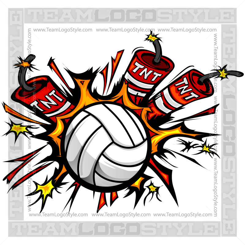 Dynamite Volleyball Logo Vector Clipart Volleyball