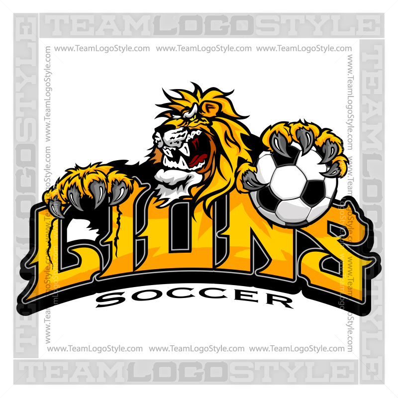 Lion Soccer Team Logo Vector Clipart Lion