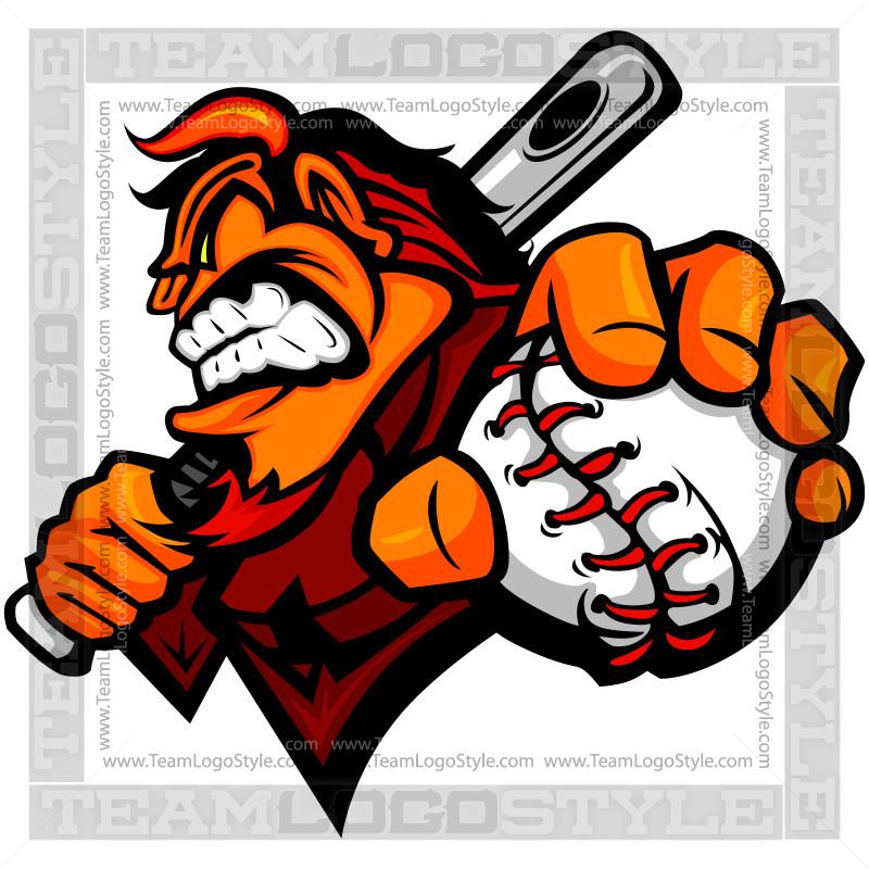 Devil Baseball Logo - Vector Clipart Devil