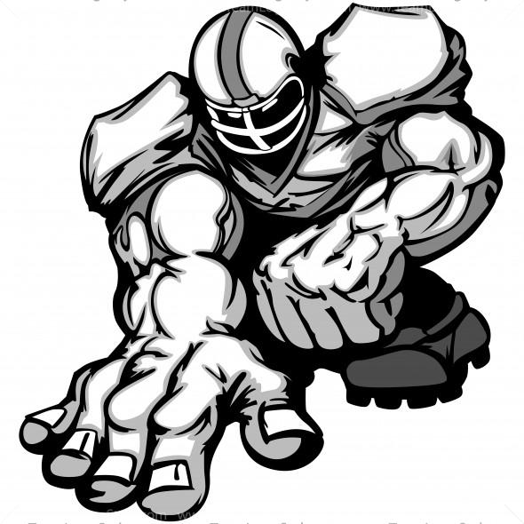 Football Player Clip Art Vector Clipart Lineman