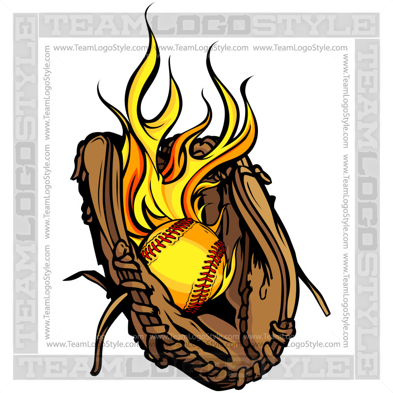 flaming softball logo vector clipart glove with flaming softball rh teamlogostyle com