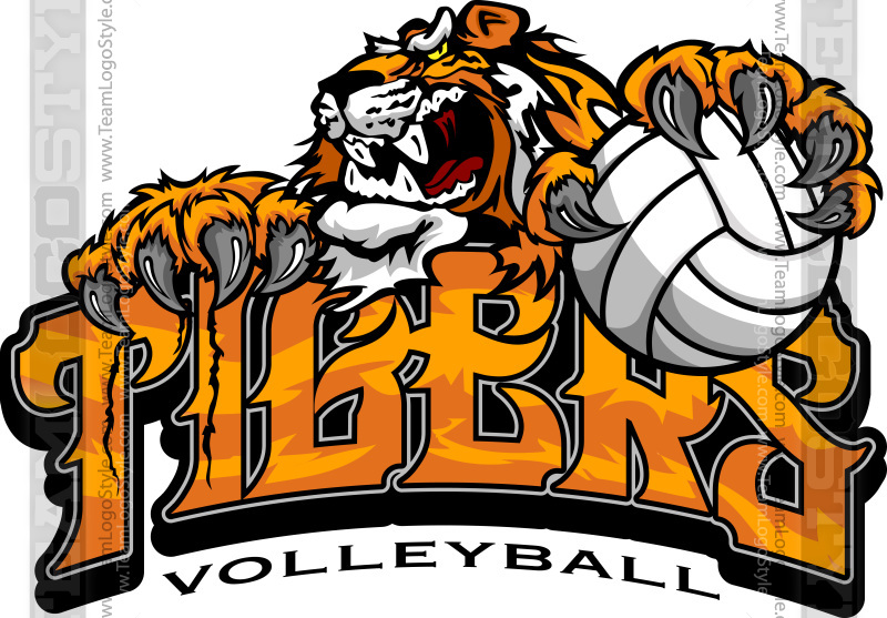 tiger volleyball logo vector clipart tigers