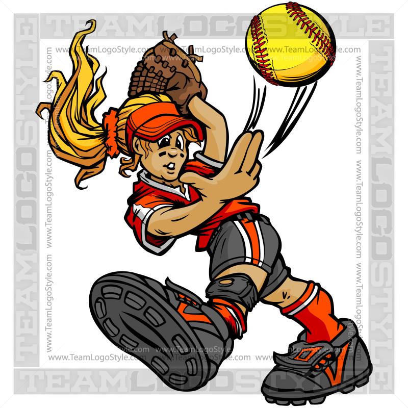 Softball player clipart